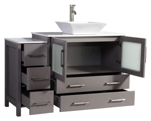 Save vanity art 48 inch single sink bathroom vanity combo modern cabinet with ceramic top sink free mirror gray va3136 48g