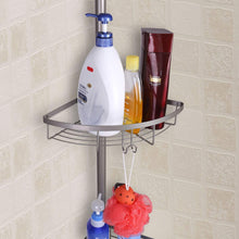 Load image into Gallery viewer, On amazon mythinglogic corner shower caddy adjustable height shower tension rod with wire basket 3 tier stainless steel shower shelf rack bathroom shower organizer for shampoo conditioner soap and towel