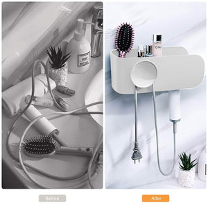 Save termichy hair dryer holder wall mounted blow dryer holder with cable tidy heat resistant spiral hanging rack for bathroom bedroom white