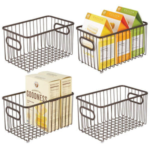 Best mdesign metal farmhouse kitchen pantry food storage organizer basket bin wire grid design for cabinets cupboards shelves countertops closets bedroom bathroom 10 long 4 pack bronze