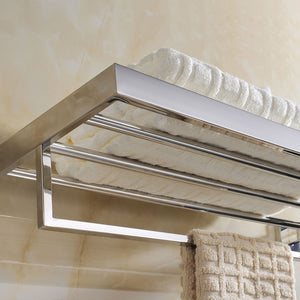 Kitchen deluxe 24 inch 304 stainless steel bathroom dual layers towel bar shelves holder chrome polishing mirror polished wall mounted