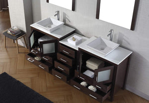 Purchase virtu usa dior 82 inch double sink bathroom vanity set in espresso w square vessel sink white engineered stone countertop single hole polished chrome 2 mirrors kd 70082 s es