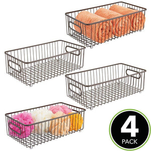 Buy now mdesign metal bathroom storage organizer basket bin farmhouse wire grid design for cabinets shelves closets vanity countertops bedrooms under sinks large 4 pack bronze