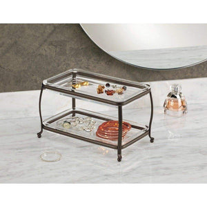 Featured interdesign york plastic free standing double vanity tray 2 shelves storage for countertops desks dressers bathroom 10 5 x 6 5 x 6 bronze and clear