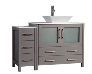 Save on vanity art 48 inch single sink bathroom vanity combo modern cabinet with ceramic top sink free mirror gray va3136 48g