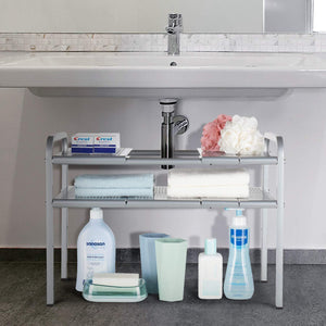On amazon bextsware metal under sink 2 tier expandable shelf organizer rack adjustable height and position 7 removable shelves expandable 18 to 25for kitchen bathroom cabinets storage chrome