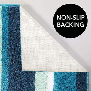 Budget friendly mdesign soft microfiber polyester spa rugs for bathroom vanity tub shower water absorbent machine washable plush non slip rectangular accent rug mat striped design set of 3 sizes teal blue