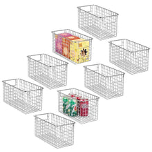 Load image into Gallery viewer, Latest mdesign farmhouse decor metal wire food storage organizer bin basket with handles for kitchen cabinets pantry bathroom laundry room closets garage 12 x 6 x 6 8 pack chrome