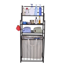 Load image into Gallery viewer, Exclusive mythinglogic laundry hamper with 3 tier storage shelves bathroom tower storage organizer with dual compartment removeable hamper for bathroom laundry room closet nursery oil rubbed bronze