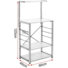 Load image into Gallery viewer, Kitchen woltu 4 tiers shelf kitchen storage display rack wooden and metal standing shelving unit for home bathroom use with 4 hooks