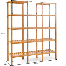 Load image into Gallery viewer, Kitchen costway bamboo utility shelf bathroom rack plant display stand 5 tier storage organizer rack cube w several cell closet storage cabinet 12 pots