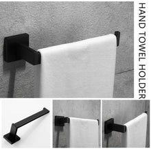 Load image into Gallery viewer, Heavy duty velimax premium stainless steel bathroom hardware set black 4 pieces bathroom hardware accessories set wall mounted towel bar towel holder hook toilet paper holder matte black