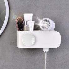 Load image into Gallery viewer, Results termichy hair dryer holder wall mounted blow dryer holder with cable tidy heat resistant spiral hanging rack for bathroom bedroom white