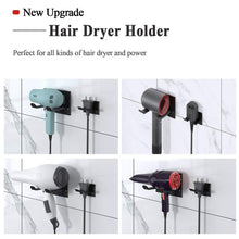 Load image into Gallery viewer, Top xigoo hair dryer holder self adhesive wall mount bathroom hair blow dryer rack organizer fit for most hair dryers upgrade black