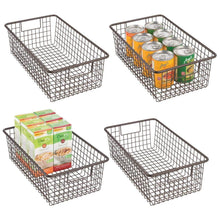 Load image into Gallery viewer, Purchase mdesign modern farmhouse metal wire storage organizer bin basket with handles for kitchen cabinets pantry closets bedrooms bathrooms 16 25 long 4 pack bronze