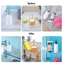Load image into Gallery viewer, Cheap leefe 2pcs kitchen faucet sponge holder stainless steel storage rack hanging sink caddy organizer for scrubbers soap bathroom detachable no suction cup or magnet no drilling