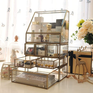 Shop hersoo large cosmetics makeup organizer transparent bathroom accessories storage glass display with slanted front open lid cosmetic stackable holder for makeup brushes perfumes skincare
