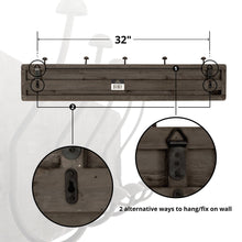 Load image into Gallery viewer, Discover the avignon home rustic coat rack with hooks vintage wooden wall mounted coat rack 38 inches wide and 7 inches high for entryway bathroom and closet