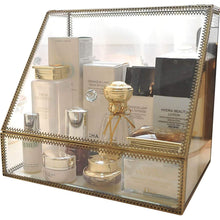 Load image into Gallery viewer, Select nice hersoo large cosmetics makeup organizer transparent bathroom accessories storage glass display with slanted front open lid cosmetic stackable holder for makeup brushes perfumes skincare