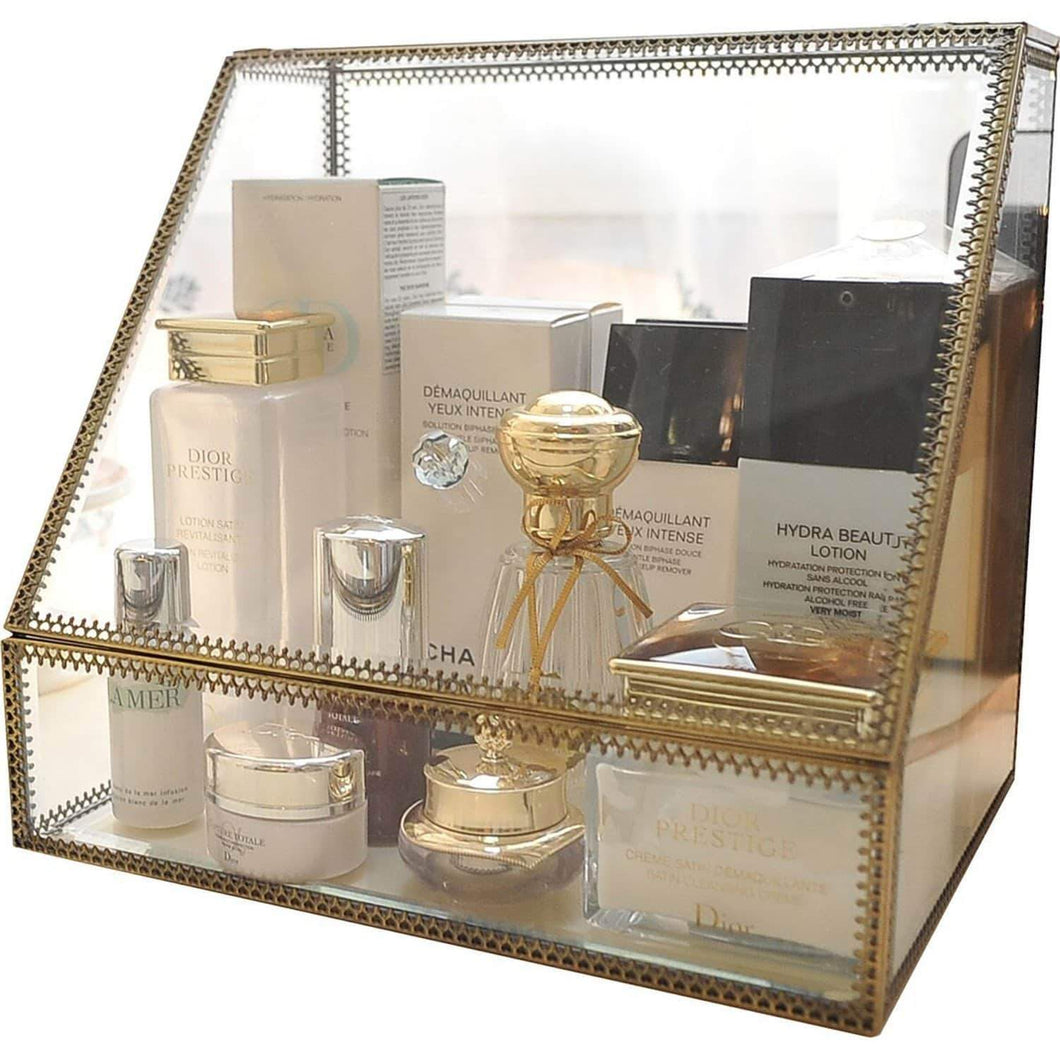Select nice hersoo large cosmetics makeup organizer transparent bathroom accessories storage glass display with slanted front open lid cosmetic stackable holder for makeup brushes perfumes skincare