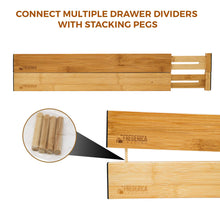 Load image into Gallery viewer, Top rated bamboo adjustable drawer divider organizers spring loaded stackable perfect for kitchen utensils silverware knife drawer dividers desk bathroom and dresser drawer organization 6 pack