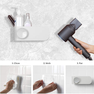 Selection termichy hair dryer holder wall mounted blow dryer holder with cable tidy heat resistant spiral hanging rack for bathroom bedroom white
