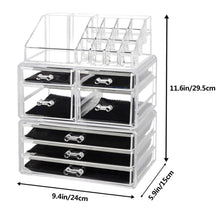 Load image into Gallery viewer, Discover the offeir us stock clear acrylic stackable cosmetic makeup storage cube organizer jewelry storage drawers case great for bathroom dresser vanity and countertop 3 pieces set 4 small 3 large drawers