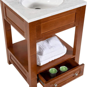 Buy maykke oxford 25 transitional bathroom vanity set in cinnamon marble vanity top carrara white ceramic undermount sink with 8 widespread faucet holes in white lba5024001