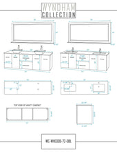 Load image into Gallery viewer, Order now wyndham collection centra 72 inch double bathroom vanity in grey oak with white carrera top with square porcelain undermount sinks