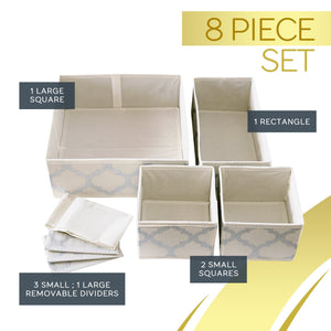 New set of 4 organizer bins with dividers for closet dresser drawer inserts bathroom dorm or baby nursery store socks underwear clothes clothing organization organizador de closet set of 4 beige