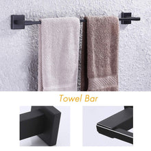 Load image into Gallery viewer, Cheap kes sus 304 stainless steel matte black 4 piece bathroom accessory set rustproof towel bar double coat hook toilet paper holder towel ring wall mount no drilling self adhesive glue la24bkdg 42