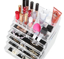 Load image into Gallery viewer, Shop for finnhomy 3 tier acrylic makeup cosmetic jewelry diamond organizer 3 piece set counter storage case large display drawer box bathroom vanity case for lipstick brush nail polish clear