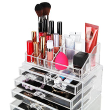 Load image into Gallery viewer, Shop here finnhomy 3 tier acrylic makeup cosmetic jewelry diamond organizer 3 piece set counter storage case large display drawer box bathroom vanity case for lipstick brush nail polish clear