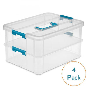 Sterilite Stack & Carry 2 Layer Handle Box, 4-Pack