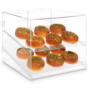 #HW001 Clear Acrylic Pastry Case Self Serve Pastry or donut display case with 2 Removable Trays, Rear Door