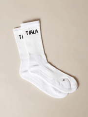 REGULAR SOCK, WHITE WITH BLACK BRANDING, TRIPLE PACK