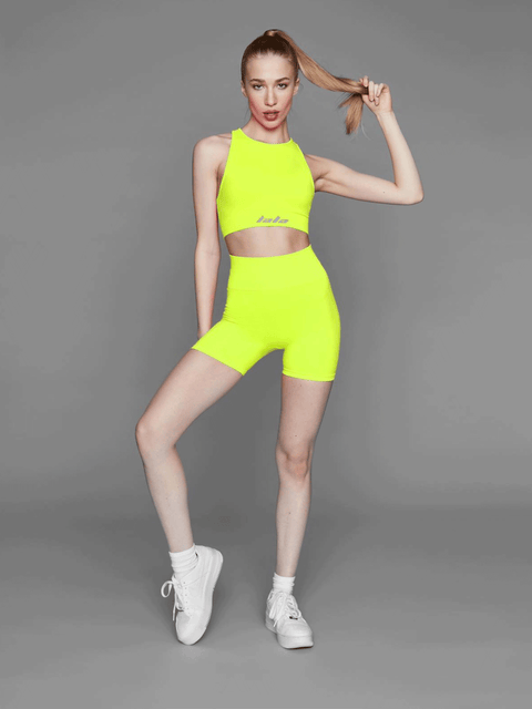 MINA BRA - NEON YELLOW (GREY BRANDING)