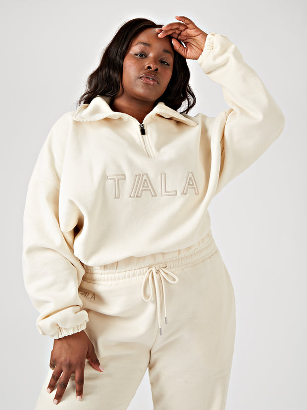 DOZE HALF ZIP SWEATSHIRT - CREAM