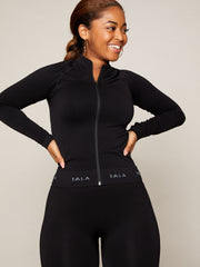 EDEN ZIP TOP - BLACK WITH GREY BRANDING