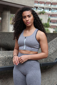 THE IXIA ZIP SUPPORT BRA - GREY MARL