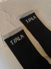REGULAR SOCK, BLACK WITH GREY BRANDING