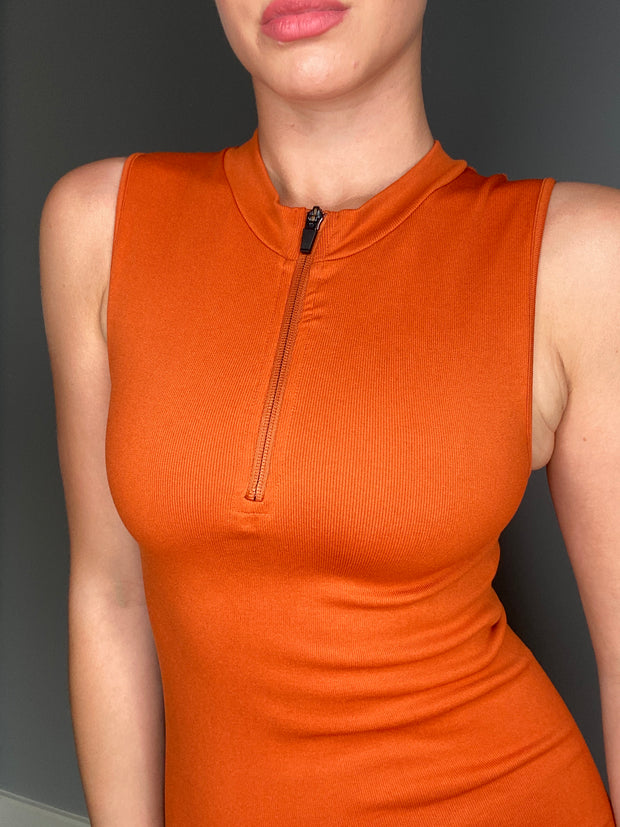 ZEST FITTED DRESS - BURNT ORANGE