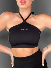 VOX HALTER CROP - BLACK