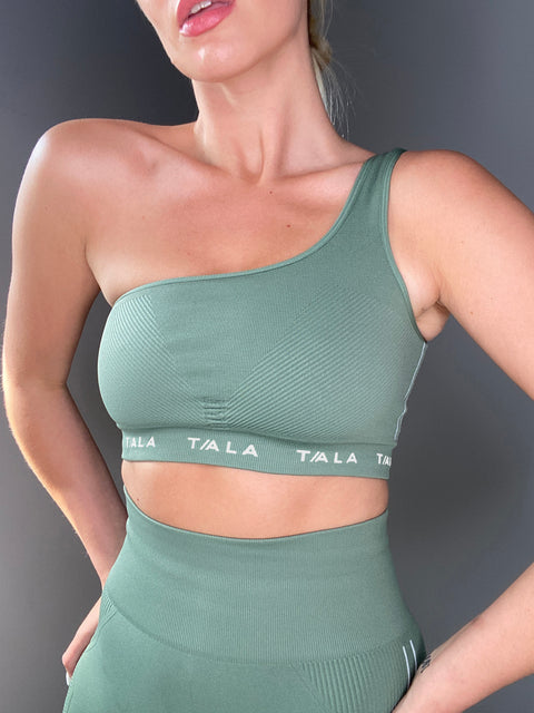 LAVA ONE-SHOULDER CROP - KHAKI