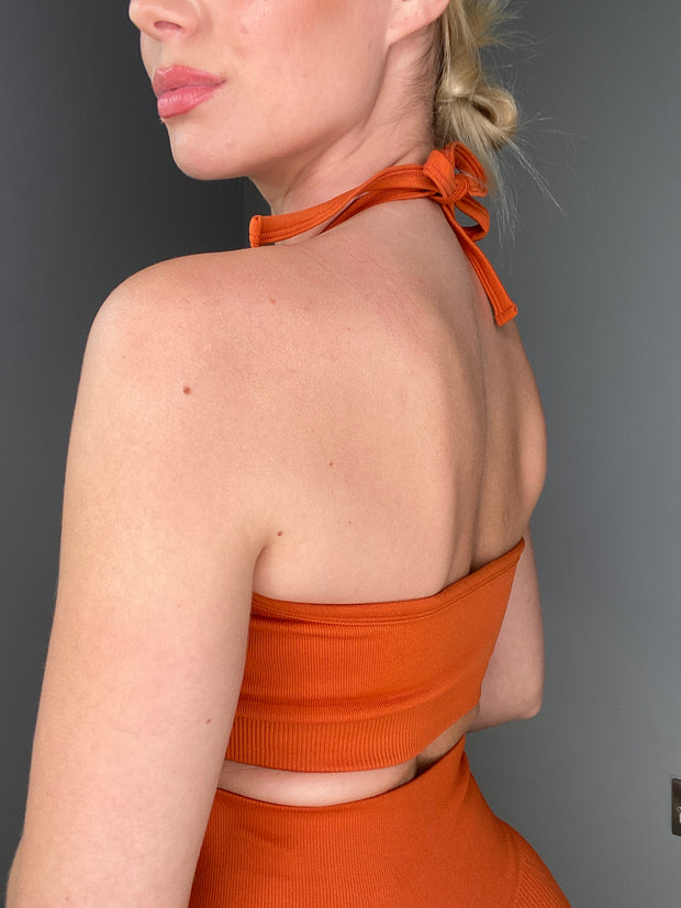 VOX HALTER CROP - BURNT ORANGE