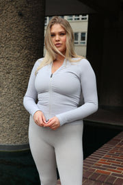 EDEN ZIP TOP - LIGHT GREY WITH GREY BRANDING