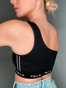 LAVA ONE-SHOULDER CROP - BLACK