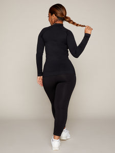 LUNA LEGGING - BLACK WITH WHITE BRANDING