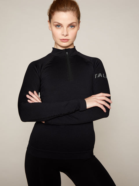 ONDA ZIP TOP - BLACK WITH GREY BRANDING
