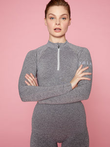 ONDA ZIP TOP - GREY MARL